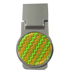 Green Red Brown Zig Zag Background Money Clips (round)
