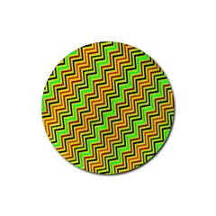 Green Red Brown Zig Zag Background Rubber Coaster (round)  by BangZart