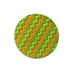 Green Red Brown Zig Zag Background Magnet 3  (round) by BangZart