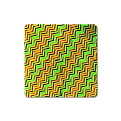 Green Red Brown Zig Zag Background Square Magnet by BangZart