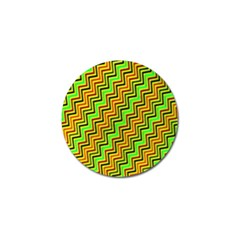 Green Red Brown Zig Zag Background Golf Ball Marker (4 Pack) by BangZart