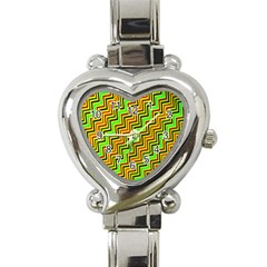 Green Red Brown Zig Zag Background Heart Italian Charm Watch by BangZart