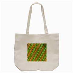 Green Red Brown Zig Zag Background Tote Bag (cream)