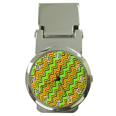 Green Red Brown Zig Zag Background Money Clip Watches by BangZart
