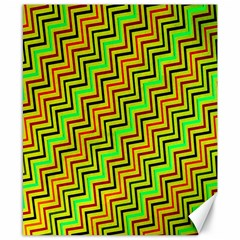 Green Red Brown Zig Zag Background Canvas 8  X 10
