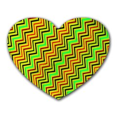 Green Red Brown Zig Zag Background Heart Mousepads