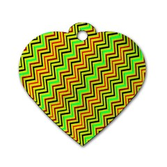 Green Red Brown Zig Zag Background Dog Tag Heart (one Side)