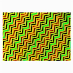 Green Red Brown Zig Zag Background Large Glasses Cloth by BangZart