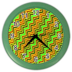 Green Red Brown Zig Zag Background Color Wall Clocks