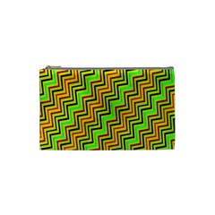 Green Red Brown Zig Zag Background Cosmetic Bag (small)  by BangZart