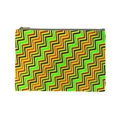 Green Red Brown Zig Zag Background Cosmetic Bag (large)  by BangZart