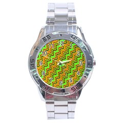 Green Red Brown Zig Zag Background Stainless Steel Analogue Watch