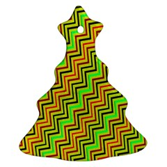 Green Red Brown Zig Zag Background Ornament (christmas Tree)  by BangZart