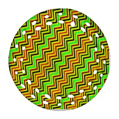 Green Red Brown Zig Zag Background Round Filigree Ornament (two Sides) by BangZart