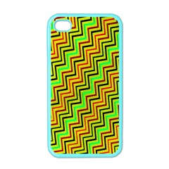 Green Red Brown Zig Zag Background Apple Iphone 4 Case (color) by BangZart