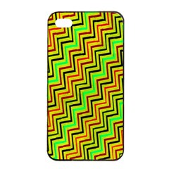 Green Red Brown Zig Zag Background Apple Iphone 4/4s Seamless Case (black)
