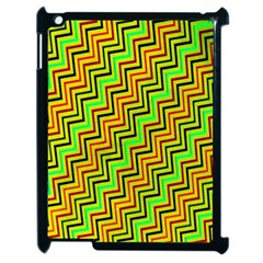 Green Red Brown Zig Zag Background Apple Ipad 2 Case (black) by BangZart