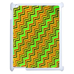 Green Red Brown Zig Zag Background Apple Ipad 2 Case (white) by BangZart