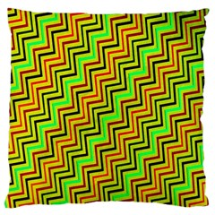 Green Red Brown Zig Zag Background Large Cushion Case (two Sides) by BangZart