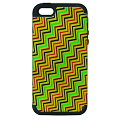 Green Red Brown Zig Zag Background Apple Iphone 5 Hardshell Case (pc+silicone)