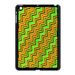Green Red Brown Zig Zag Background Apple Ipad Mini Case (black)