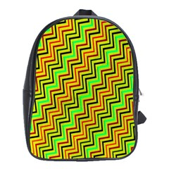 Green Red Brown Zig Zag Background School Bags (xl)  by BangZart