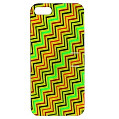 Green Red Brown Zig Zag Background Apple Iphone 5 Hardshell Case With Stand by BangZart