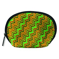Green Red Brown Zig Zag Background Accessory Pouches (medium)