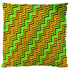 Green Red Brown Zig Zag Background Large Flano Cushion Case (two Sides)