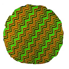 Green Red Brown Zig Zag Background Large 18  Premium Flano Round Cushions by BangZart
