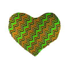 Green Red Brown Zig Zag Background Standard 16  Premium Flano Heart Shape Cushions by BangZart