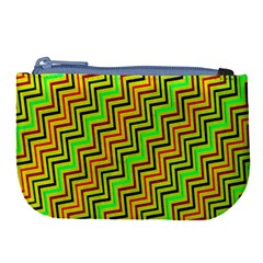 Green Red Brown Zig Zag Background Large Coin Purse