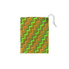 Green Red Brown Zig Zag Background Drawstring Pouches (xs)  by BangZart