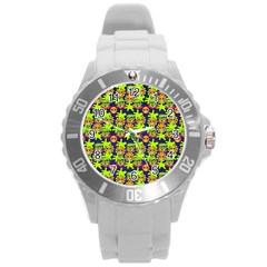 Smiley Monster Round Plastic Sport Watch (l) by BangZart