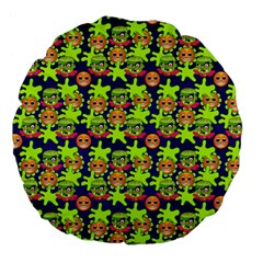 Smiley Monster Large 18  Premium Flano Round Cushions by BangZart