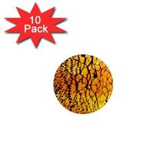 Yellow Chevron Zigzag Pattern 1  Mini Magnet (10 Pack)  by BangZart