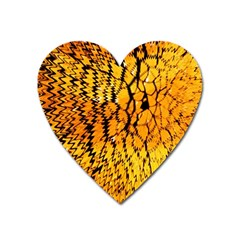 Yellow Chevron Zigzag Pattern Heart Magnet