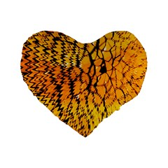 Yellow Chevron Zigzag Pattern Standard 16  Premium Heart Shape Cushions by BangZart