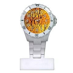 Yellow Chevron Zigzag Pattern Plastic Nurses Watch