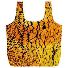 Yellow Chevron Zigzag Pattern Full Print Recycle Bags (l)
