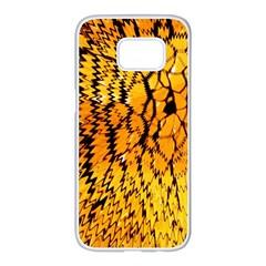 Yellow Chevron Zigzag Pattern Samsung Galaxy S7 Edge White Seamless Case