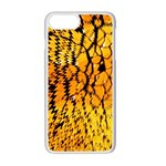 Yellow Chevron Zigzag Pattern Apple iPhone 7 Plus White Seamless Case Front