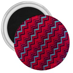 Red Turquoise Black Zig Zag Background 3  Magnets by BangZart