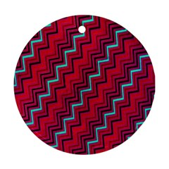 Red Turquoise Black Zig Zag Background Ornament (round) by BangZart