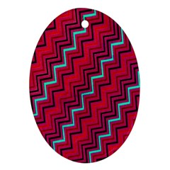 Red Turquoise Black Zig Zag Background Ornament (oval)