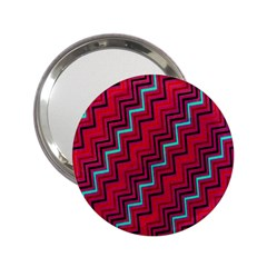 Red Turquoise Black Zig Zag Background 2 25  Handbag Mirrors by BangZart