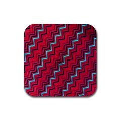 Red Turquoise Black Zig Zag Background Rubber Square Coaster (4 Pack)  by BangZart