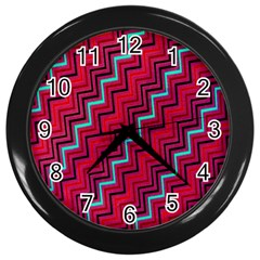 Red Turquoise Black Zig Zag Background Wall Clocks (black) by BangZart