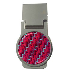Red Turquoise Black Zig Zag Background Money Clips (round)  by BangZart