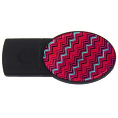 Red Turquoise Black Zig Zag Background Usb Flash Drive Oval (2 Gb)